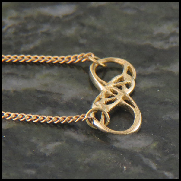 Infinity Knot necklace in 14K Yellow, Rose or White Gold