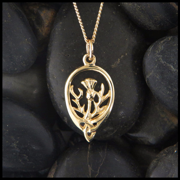Scottish thistle pendant in 14k gold walker metalsmiths celtic jewelry triquetra thistle pendant in 14k gold aloadofball Images