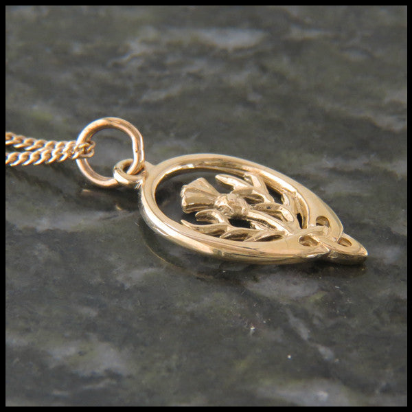 Triquetra Thistle pendant in 14K Gold.