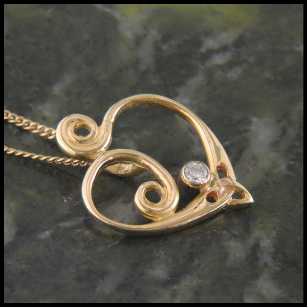 Spiral Heart pendant in 14K Yellow, Rose or White Gold with Diamond