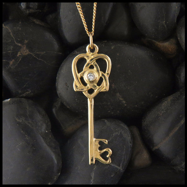 Celtic Key to your Heart Pendant in 14K Yellow, Rose and White Gold with Diamond