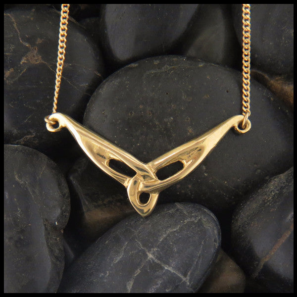 Unique Triquetra Bar pendant in 14K Yellow, Rose or White Gold