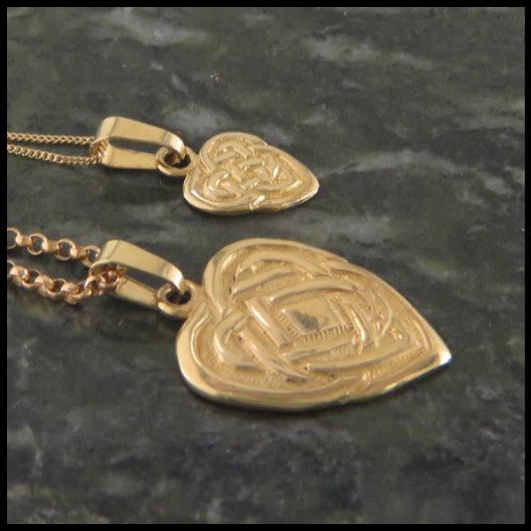 Celtic Knot heart pendant in 14K Yellow, Rose and White Gold