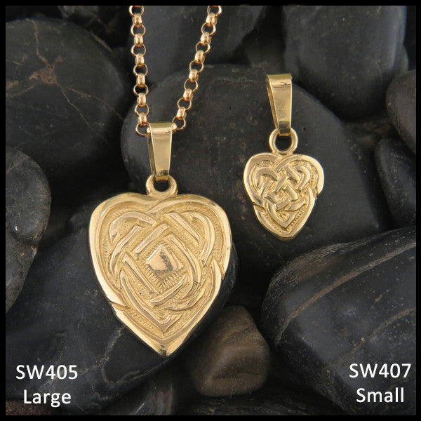 Celtic maggies heart pendant in gold walker metalsmiths celtic celtic knot heart pendant in 14k yellow rose and white gold aloadofball Images