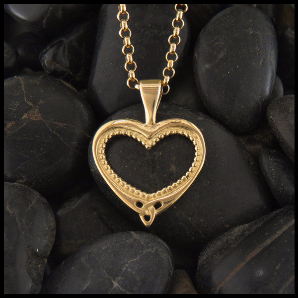 Ornate Celtic heart pendant in 14K Yellow, Rose and White Gold
