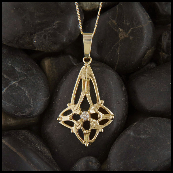 Trinity Star pendant in 14K Yellow, Rose and White Gold with gemstones