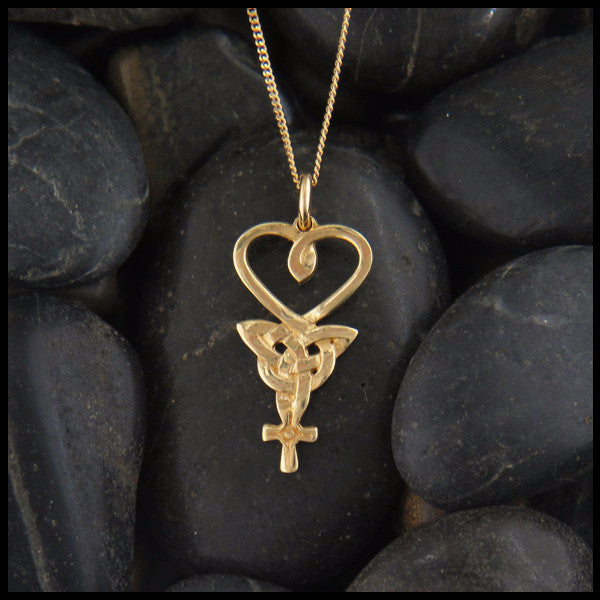 Heart, Triquetra, and Celtic Cross Pendant in 14K Rose, White or Yellow Gold handcrafted by Walker Metalsmiths
