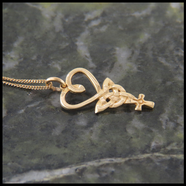 Heart, Triquetra, and Celtic Cross Pendant in 14K Rose, White or Yellow Gold