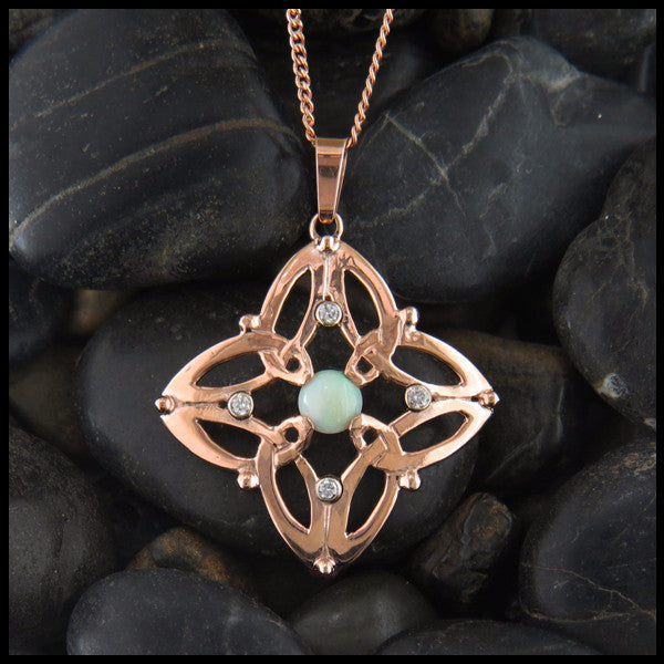 Triquetra Pendant in Rose Gold with Opals and Diamonds in Gold