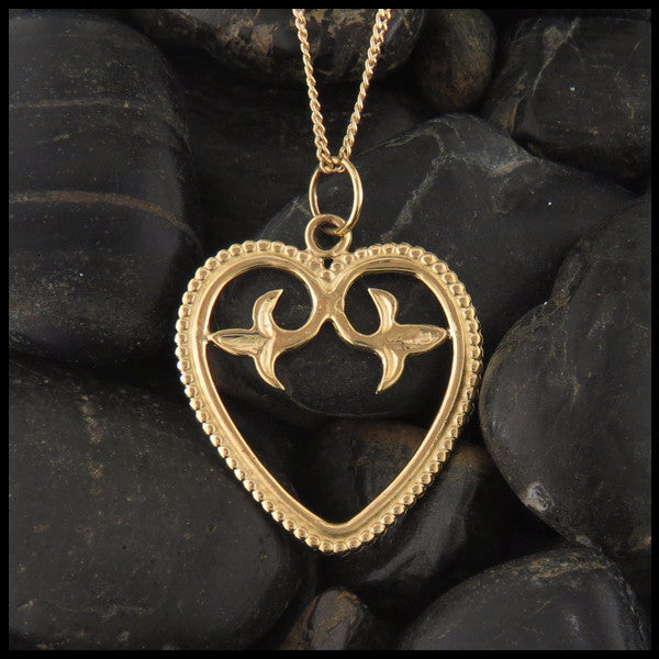 Ornate Heart pendant in 14K Yellow, Rose and White Gold