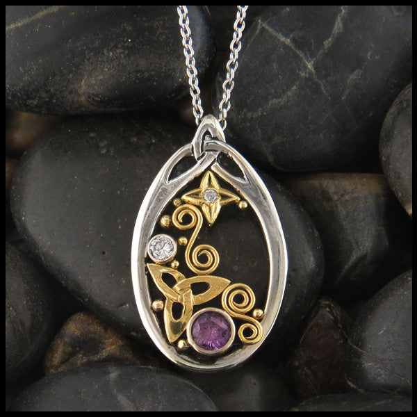 Custom Gold Celtic pendant with Purple Sapphire and Diamonds