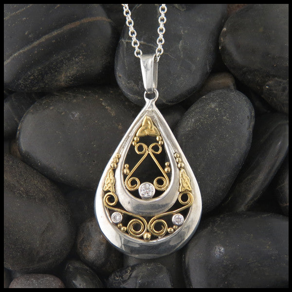 Ornate Teardrop pendant in Sterling Silver and Gold