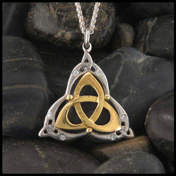 Triquetra pendant in Sterling Silver and Gold with Gemstones