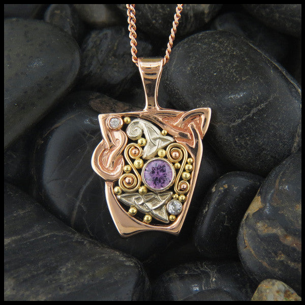 Pink Sapphire and Diamond Gold Celtic pendant