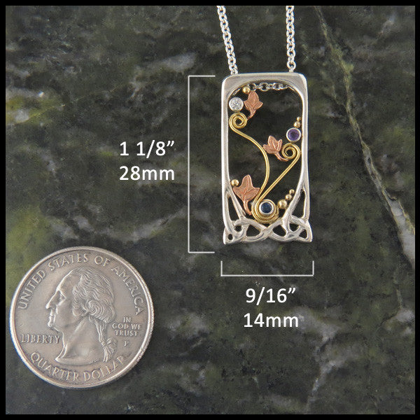 Celtic Floral Mother's pendant in Sterling Silver and Gold