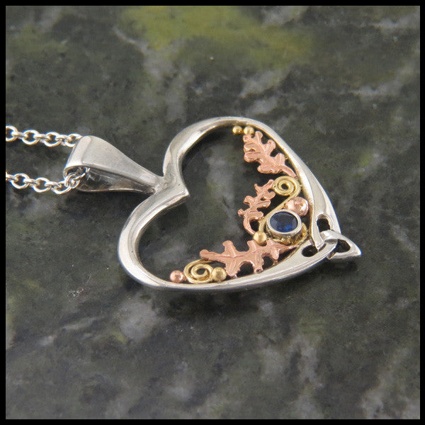 Sterling Silver and Gold Celtic pendant and earring set with Gemstones