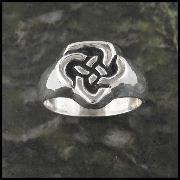 Men's Father's Knot Celtic Band Ring in Sterling Silver