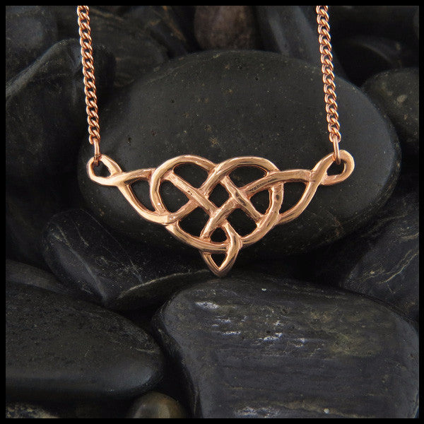 Celtic Heart knot pendant in 14K Yellow, Rose or White Gold