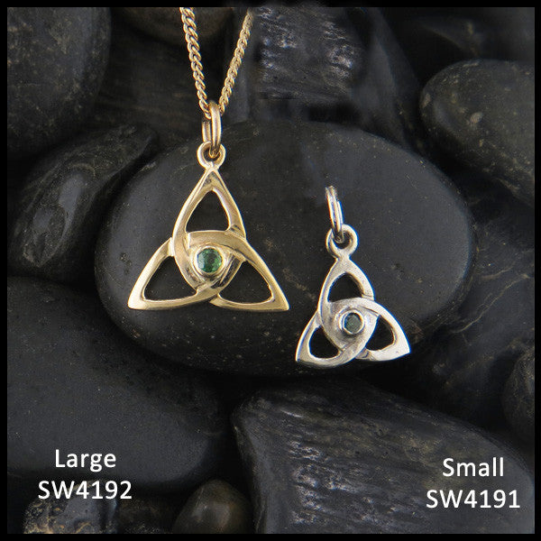 Celtic Triquetra necklace with gemstones in 14K Yellow, Rose and White Gold handcrafted by Walker Metalsmiths