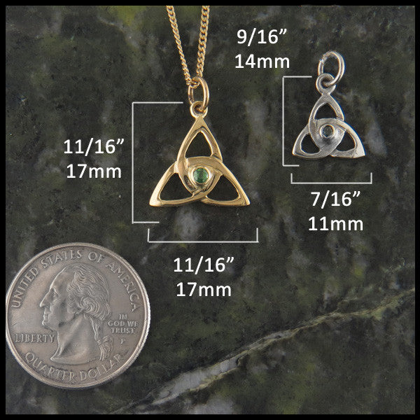 Celtic Triquetra necklace with gemstones in 14K Yellow, Rose and White Gold