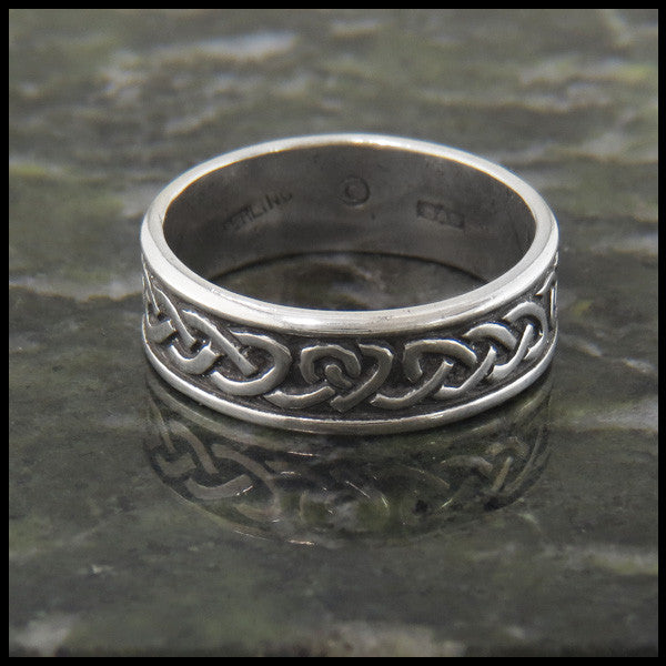 Celtic Heart Knot Wedding Band Ring in Sterling Silver custom designed by Walker Metalsmiths