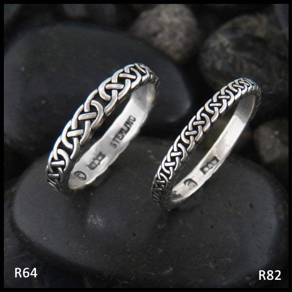 Narrow Josephine's Knot, Lover's Knot Stacking Bands in Sterling Silver