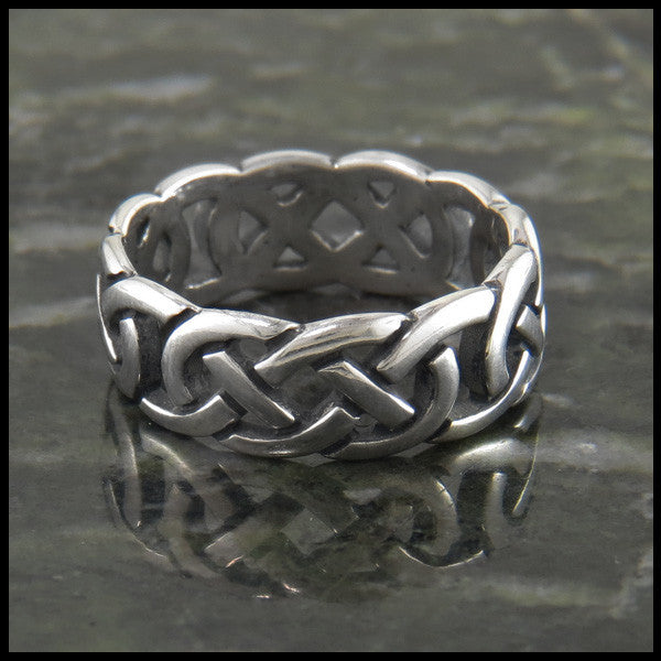 Open Josephine's Knot, Lover's Knot Celtic Ring Band in Sterling Silver