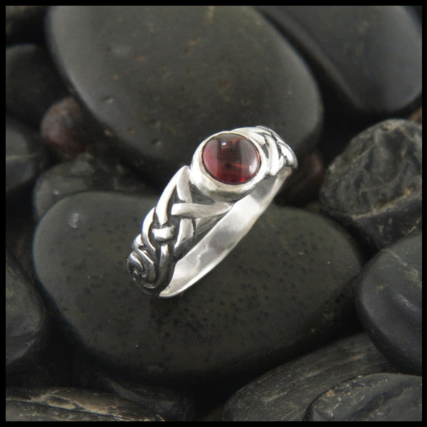 Spiral Knot Celtic Ring with Gemstones in Sterling Silver