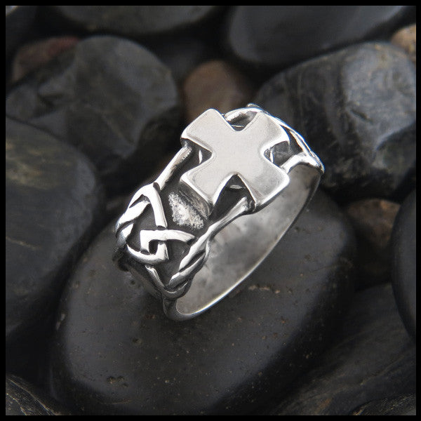 Wide Men's Celtic Cross Ring in Sterling Silver