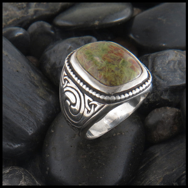 Large Men's Celtic Ring with Stone in Sterling Silver
