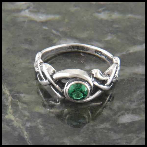Birthstone Celtic Knot Ring in Sterling Silver