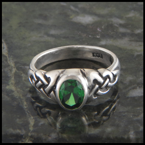 Oval Birthstone Celtic Knot Ring in Sterling Silver