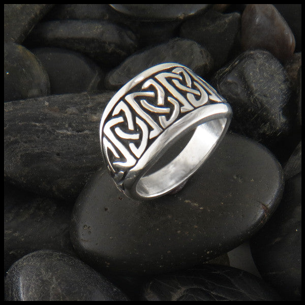 Wide Tapered Celtic Knot Ring in Sterling Silver