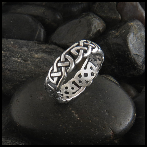 Open Celtic Knot Ring Band in Sterling Silver