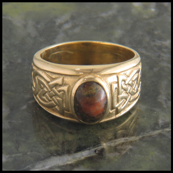 Bold Celtic Knot Ring with Stones in 14K Gold
