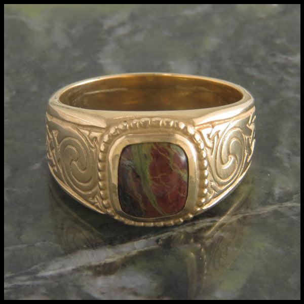 Men's Celtic Knot Ring with Stones in 14K Gold