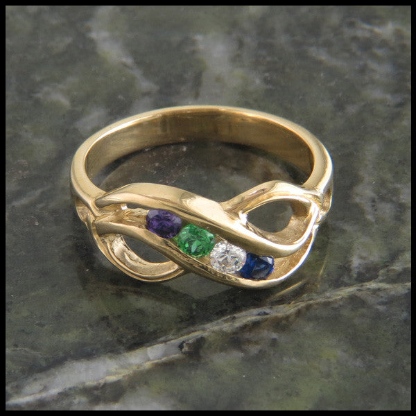 Infinity Knot Mother's Birthstone Ring in 14K Gold