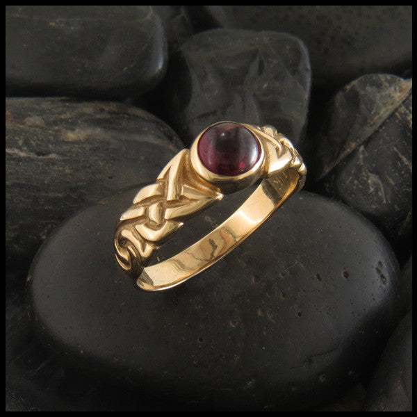 Garnet Spiral Knot Celtic Ring with Gemstones in 14K Gold