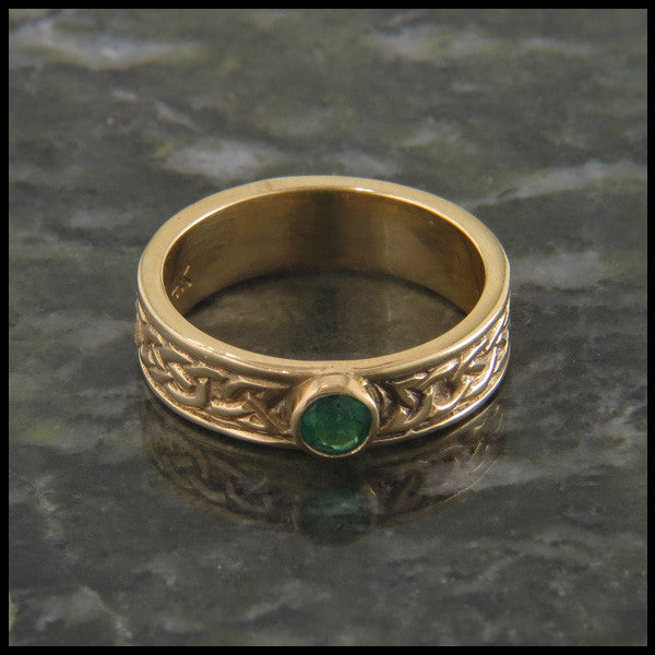 Josephine's Knot, Lover's Knot, Ring Band in 14K Gold with Gemstones