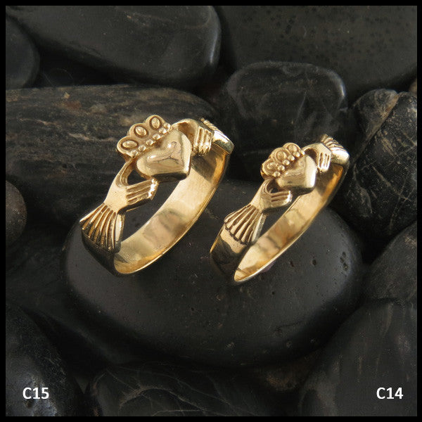 Celtic Claddagh Rings in Two Sizes in 14K Gold