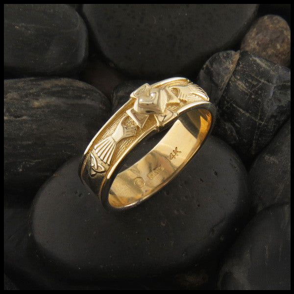 Celtic Claddagh Band with Cross and Trinity Knot in 14K Gold