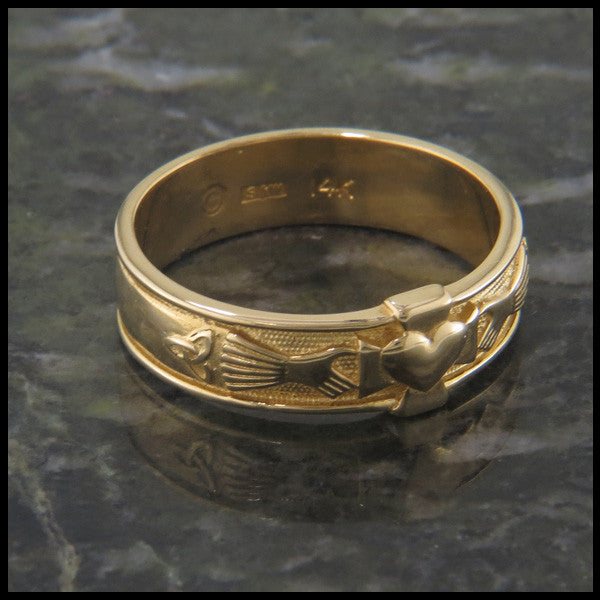 Walker Metalsmiths Celtic Claddagh Band with Cross and Trinity Knot in 14K Gold