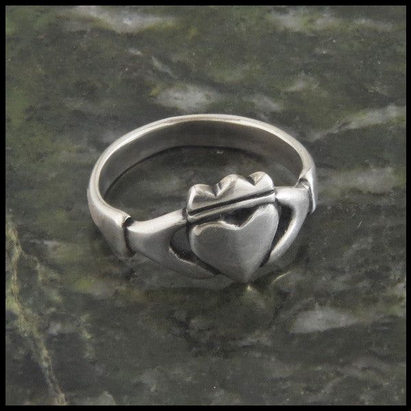 Simple Celtic Claddagh Ring in Sterling Silver