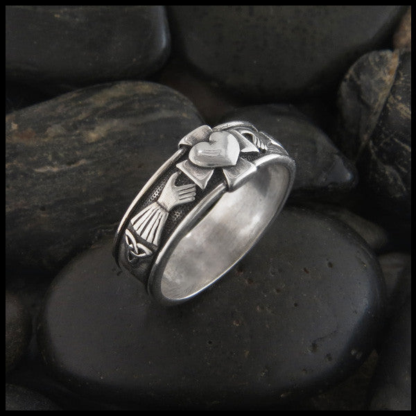 Walker Metalsmiths Celtic Claddagh Band with Cross and Trinity Knot in Sterling Silver
