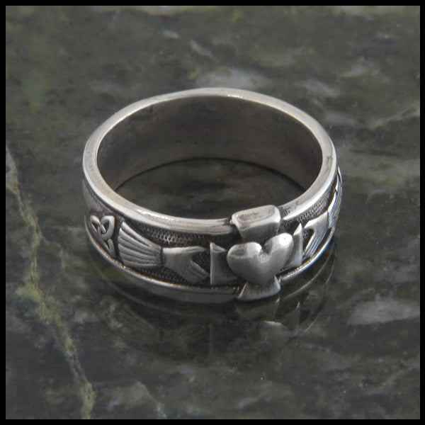 Celtic Claddagh Band with Cross and Trinity Knot in Sterling Silver