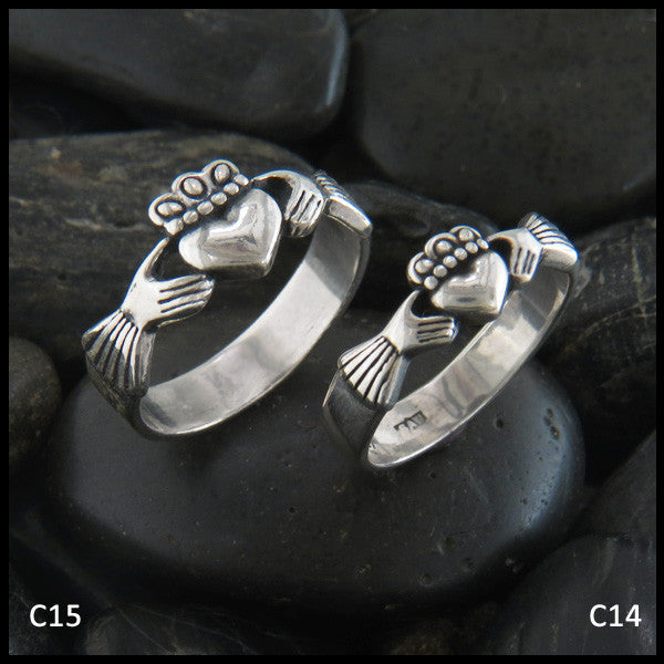 Walker Metalsmiths Celtic Jewelry Sterling Silver Celtic Claddagh Rings in Two Sizes