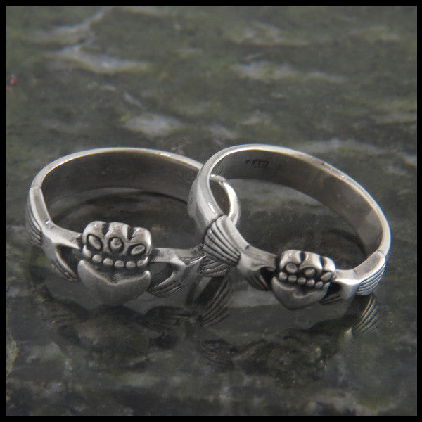 Walker Metalsmiths Celtic Jewelry custom designed Sterling Silver Celtic Claddagh Rings in Two Sizes