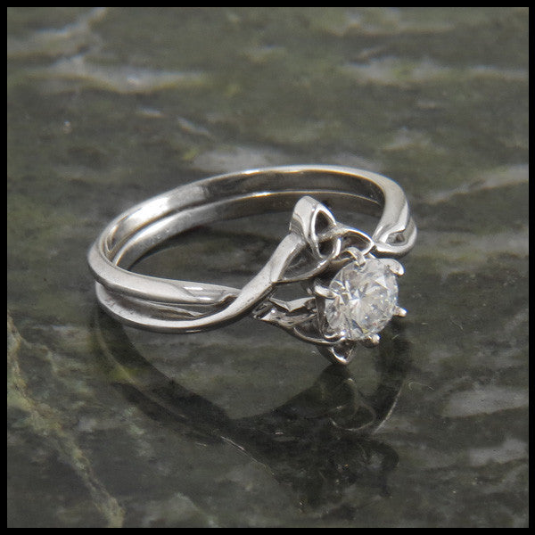 Celtic Trinity Knot Interlocking Engagement Ring Wedding Set
