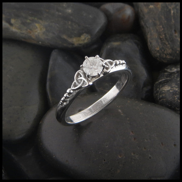 Simple Triquetra Engagement Ring Solitaire with Diamond