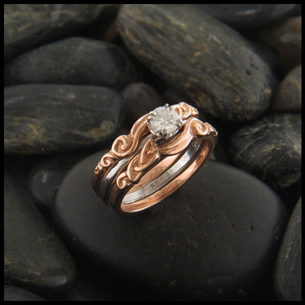 three piece celtic knot engagement ring and wedding band - Interlocking Wedding Rings